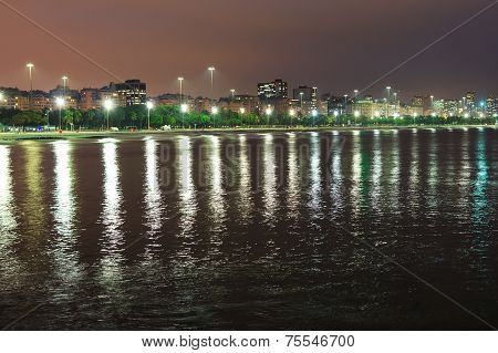 Night View Of Beach Flamengo, Guanabara Bay, Rio De Janeiro