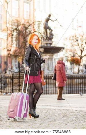 Woman Fashion Girl With Suitcase Bag Outdoor