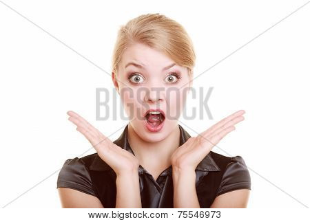 Portrait Of Surprised Businesswoman Shocked Woman