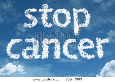 Amazing Stop Cancer text on clouds