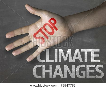 Educational and Creative composition with the message Stop Climate Changes on the blackboard