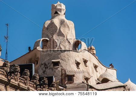 BARCELONA, JUNE 12: Casa Mila aka La Pedrera (Catalan for 'The Quarry') on June 12, 2013 in Barcelona. La Pedrera was built in 1906-1910.