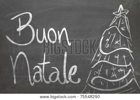 Christmas tree on blackboard and the text Buon Natale ( Merry Christmas in Italian )