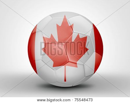 Amazing soccer ball with the flag of Canada ( North America ) isolated on white