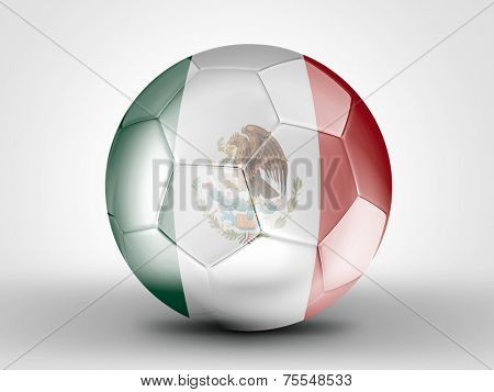 Amazing soccer ball with the flag of Mexico ( Central America ) isolated on white