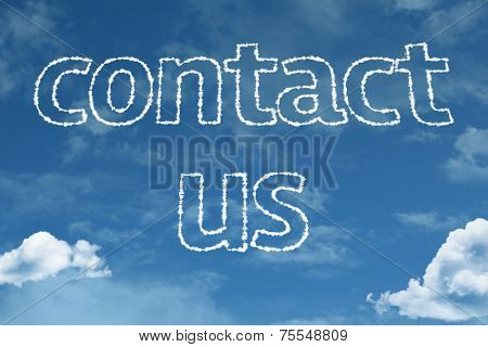 Amazing Contact Us text on clouds