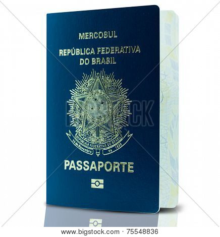 New Brazilian Passport isolated on white