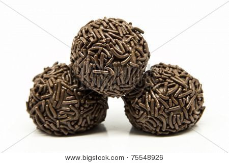 Traditional Brazilian Brigadeiro isolated on white background