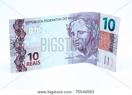 Brazilian Money - 10 Reais isolated on white