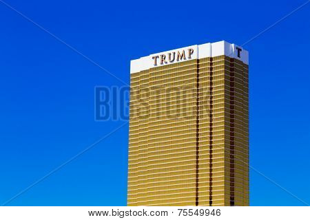 LAS VEGAS, USA - SEP 15 The Trump Hotel Las Vegas on September 15, 2013 in Las Vegas, USA. A 64-story luxury hotel-condominium with The exterior windows are gilded with 24-carat gold.