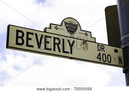 CALIFORNIA, USA - SEPTEMBER 16: Beverly Hills road sign on September 16, 2013 in Beverly Hills, California USA. The affluent city has a population of 34,109 at the 2010 census.