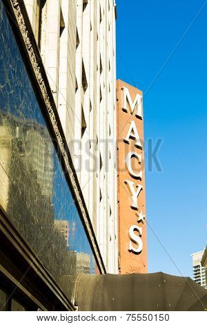 SAN FRANCISCO, USA - SEP 19: Macy's store located on O'Farrell St. in San Francisco, CA on September 19, 2013. Macy's is known for its niche in popular culture and the diversity of its merchandise.