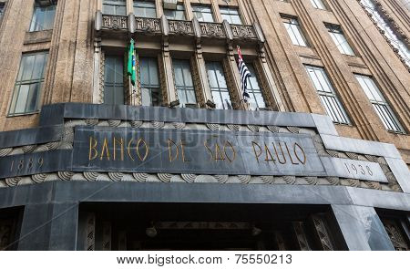 SAO PAULO, BRAZIL - SEPTEMBER 01: The bank of Sao Paulo on September 01, 2013 in Sao Paulo, Brazil. The Sao Paulo bank is located in Joao Bricola Street in downtown.