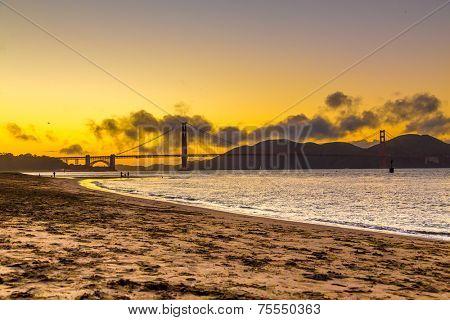 Sunset over Golden Gate bridge in San Francisco, California - USA