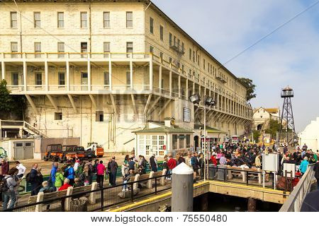 SAN FRANCISCO,CA - SEP 28: Tourists leave Pier from Alcatraz on September 28, 2013. Alcatraz is best known as one of the world's most legendary prisons.