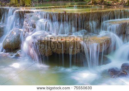 Blue waterfall in Kanjanaburi Thailand