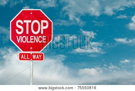Stop Violence creative sign on a sky background