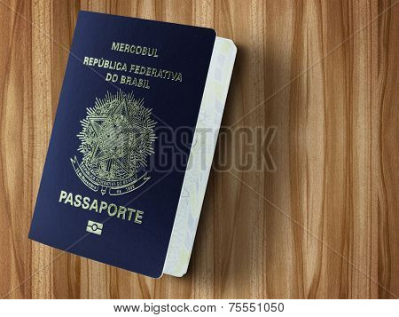 New Brazilian Passport isolated on wood table