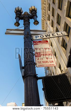 SAN FRANCISCO, USA - SEP 14: Sign of Powell Street in San Francisco, USA on September 14, 2013. Powell Street is located next to Union Square and the most popular attractions including the cable cars.