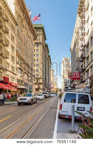 SAN FRANCISCO, USA - SEP 14: Powell Street in San Francisco, USA on September 14, 2013. Powell Street is located next to Union Square and the most popular attractions including the cable cars.