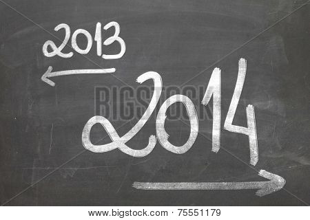 Hand writing on the blackboard - 2013 year is over and 2014 are coming.
