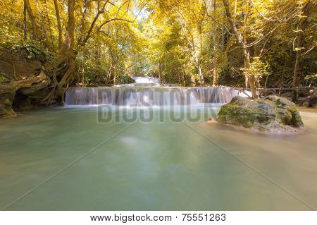 Backyard Waterfall in Autumn Season