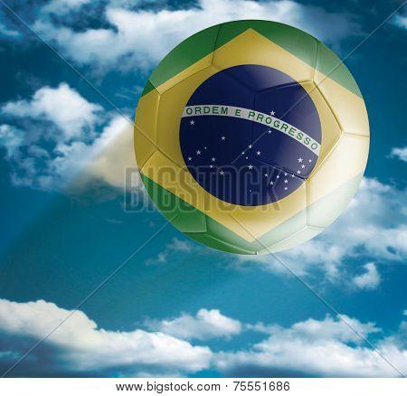 Brazilian Soccer ball flying over the the Sky
