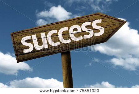 Success creative sign with clouds as the background