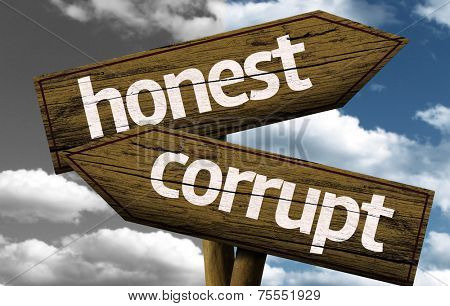 Honest x Corrupt creative sign with clouds as the background
