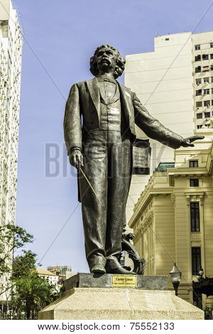 Antonio Carlos Gomes Statue the famous musician died in the 1836 in front of the Opera House, Rio de Janeiro, Brazil
