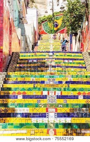 RIO DE JANEIRO - NOV 3: Escadaria Selaron on November 3, 2013 in Rio de Janeiro, Brazil. The stairway is famous work of Chilean artist Jorge Selaron.