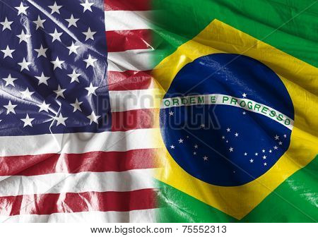Flag symbolizing the relationship between USA and Brazil