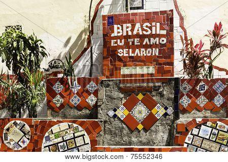 Wall of Escadaria Selaron, Rio de Janeiro, Brazil