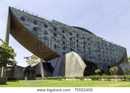 SAO PAULO, BRAZIL - NOV 10: The external architecture of the Unique Hotel on November 10, 2013. The Hotel Unique is one of the landmarks in Sao Paulo and has a Bar Restaurante on the top called Skye.
