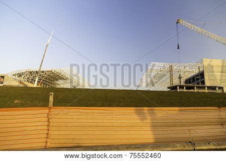 SAO PAULO, BRAZIL - AUG 27: The new Arena Corinthians in Itaquera on August 27, 2013. The Arena is future home ground of Corinthians and will be the Arena for the 2014 World Cup.