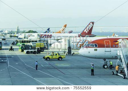 RIO DE JANEIRO, BRAZIL - NOV 03: Airplanes in Santos Dumont Airport on November 03, 2013 in Rio de Janeiro, Brazil. Santos Dumont airport is an domestic airport in Rio de Janeiro
