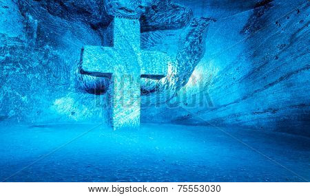 Blue Cross symbolizing the faith - Salt Cathedral, Colombia