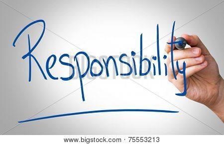 Responsibility hand writing with a blue mark on a transparent board