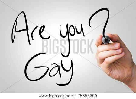 Are you gay hand writing with a black mark on a transparent board