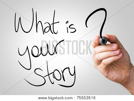 What is your story hand writing with a black mark on a transparent board