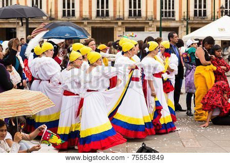 BOGOTA, COLOMBIA - NOV 16: Colombian traditional dance in Bolivar Square on November 16, 2013 in Bogota, Colombia.