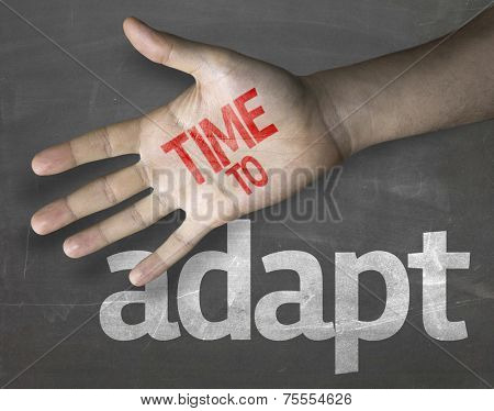 Educational and Creative composition with the message Time to Adapt on the blackboard