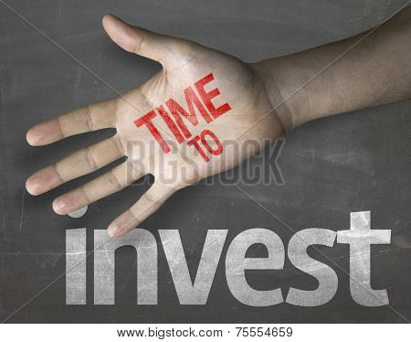 Educational and Creative composition with the message Time to Invest on the blackboard
