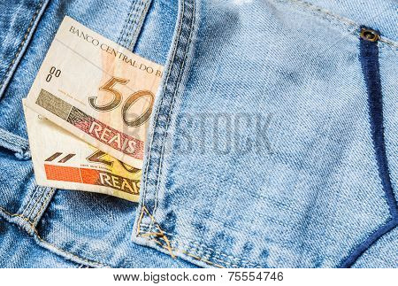 50 Reais on the jeans (Brazilian Money)