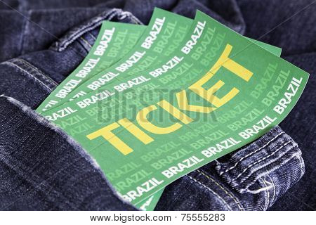 Brazilian soccer tickets on the jeans