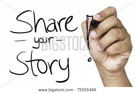 Share your story hand writing with black marker on transparent wipe board