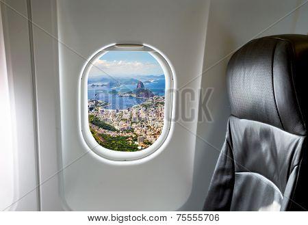Rio de Janeiro, Brazil in the aircraft's porthole