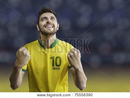 Brazilian man celebrates on the arena background