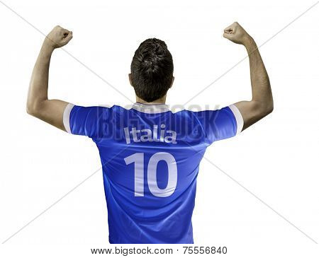 Man celebrates on white background with the italian t-shirt