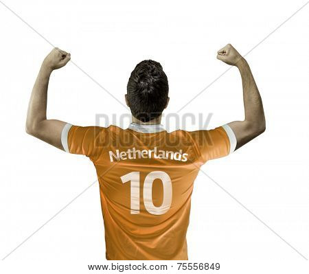 Man celebrates on white background with the dutch t-shirt